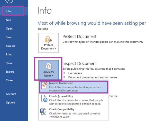 MS Word Check for Issues