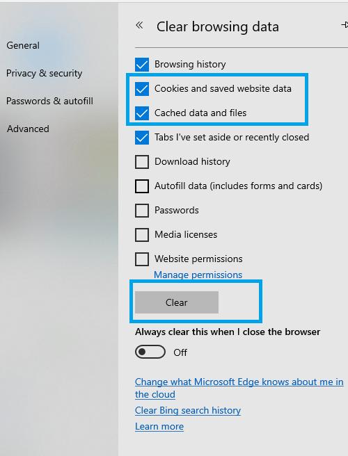 Micorsoft Edge - How to Delete Cookies on Windows 10