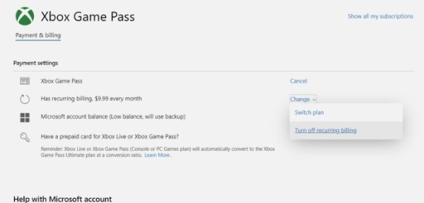 Recurring Billing - Cancel Xbox Game Pass