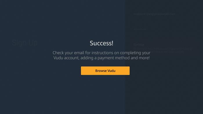 Success! screen