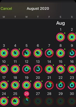 Activity history on iPhone