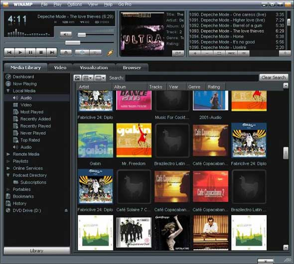 winamp Best Free Media Players for Windows
