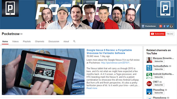 Pocketnow Best Tech Youtube Channels for 2015