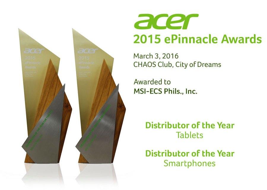 MSI-ECS Wins Big at Acer ePinnacle Awards 2015
