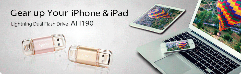 Gear up with Apacer AH190 Dual Flash Drive for iOS Devices