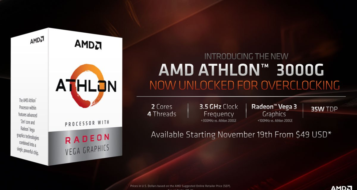 AMD Announces Unlocked Athlon 3000G at $50 USD