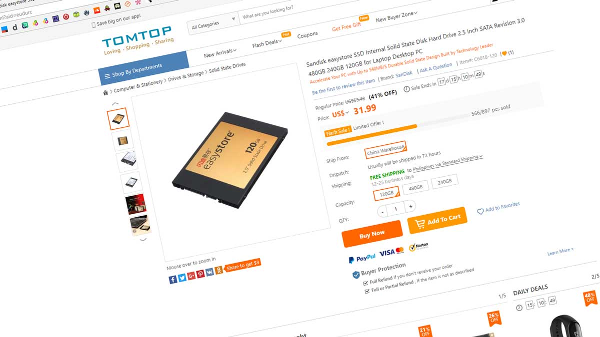 120GB SanDisk EasyStore SSD Now at $31 USD | TechPorn