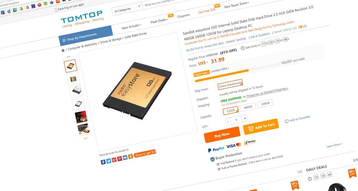 120GB SanDisk EasyStore SSD Now at $31 USD
