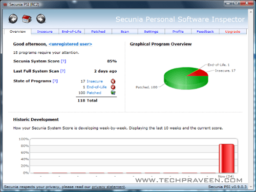 SECUNIA PERSONAL SOFTWARE INSPECTOR