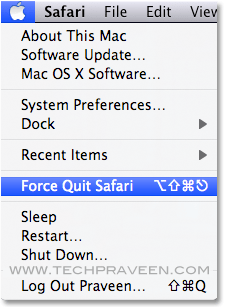 Force Quite Safari Browser