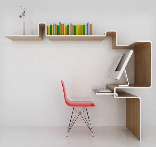 Simple and unique computer desk workspace