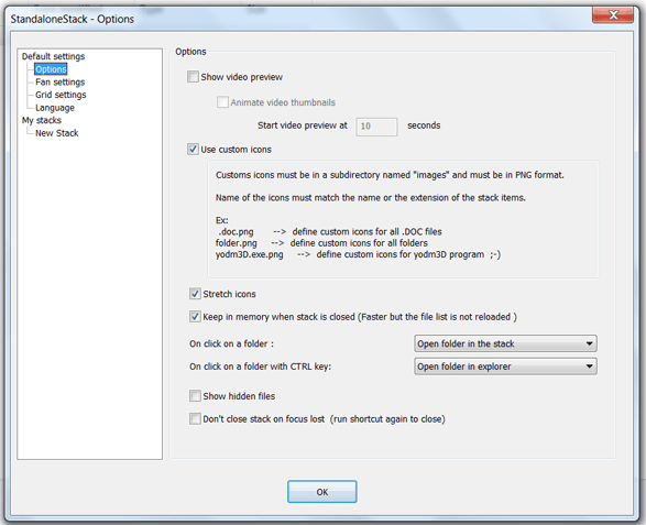StandaloneStack Option Settings