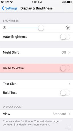 Raise to Wake iOS