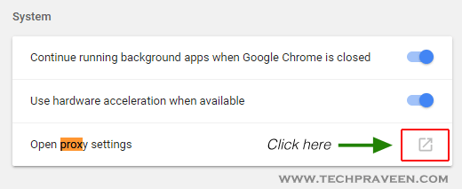 Open Google Chrome Proxy Settings