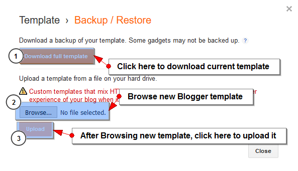 Back up or Restore Blogger template 2