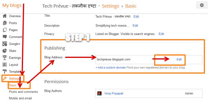 Change Blog URL in Blogger Step 1