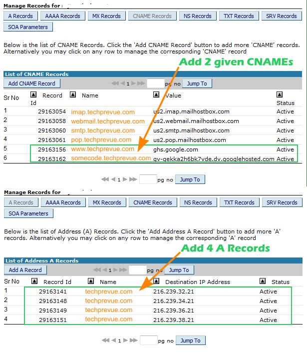 DNS settings BigRock