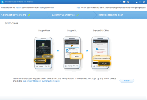 Dr.Fone for Android - If device is rooted then grant permission