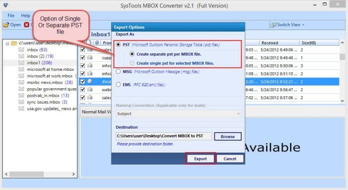 Mbox converter export pst