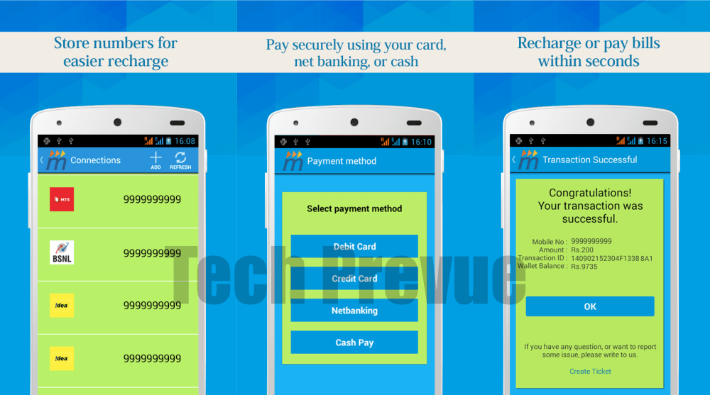 Mobikwik Android App Recharge Options