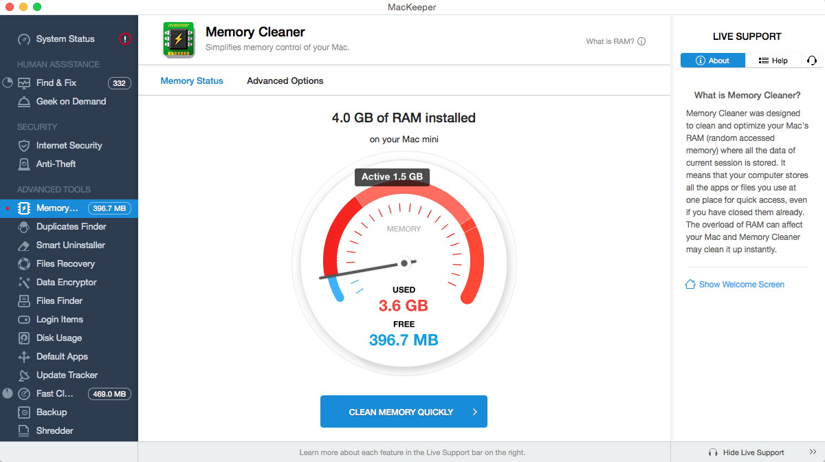 MacKeeper Memory Cleaner Automatic Cleanup