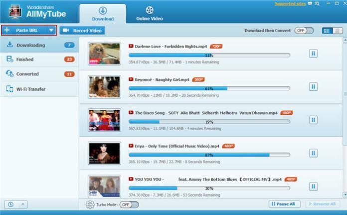 Wondershare AllmyTube download online videos