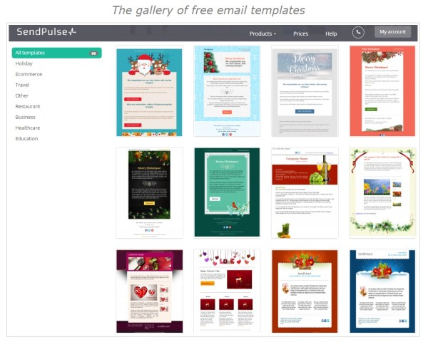 The gallery of email templates