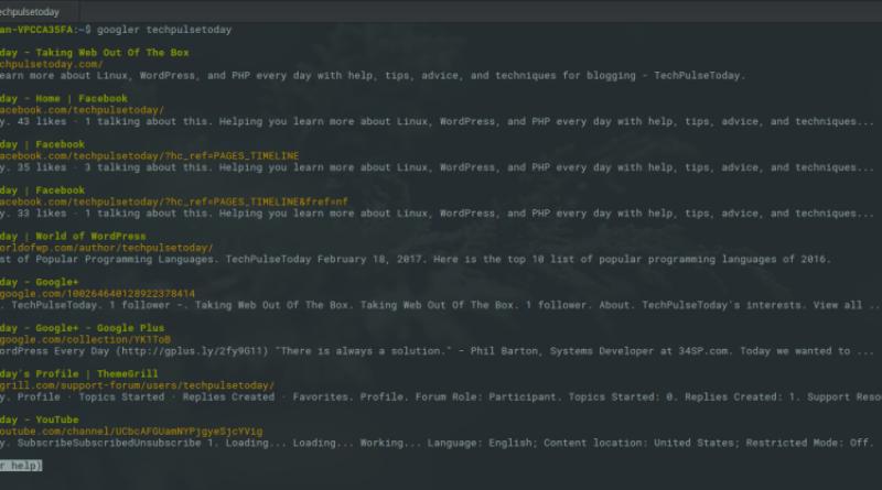 Google search Linux Terminal