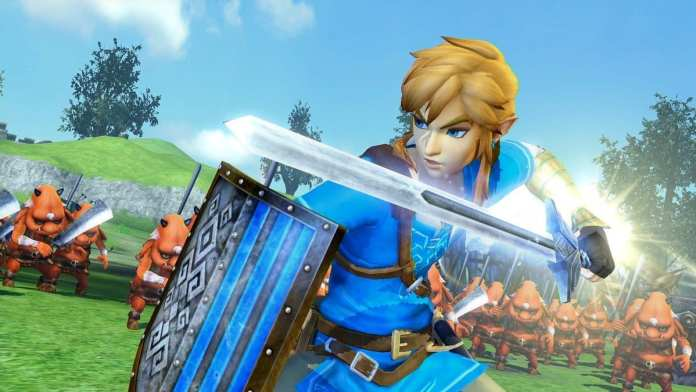 Link brandishes his blade