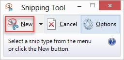 New button in Snipping tool Windows 8