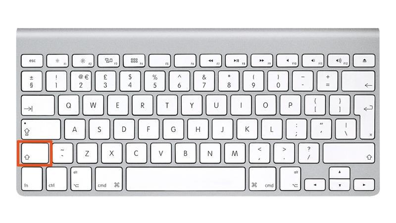 Shift button on mac