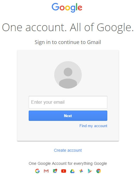 Enter Email in Gmail Sign in Page