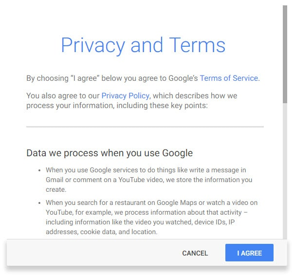 Gmail Accept Google Terms and Conditions