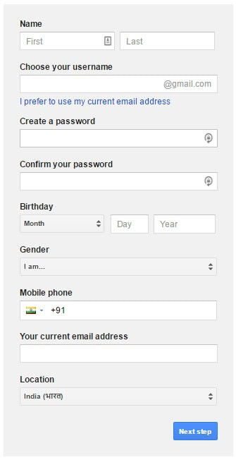 Gmail Signup Page