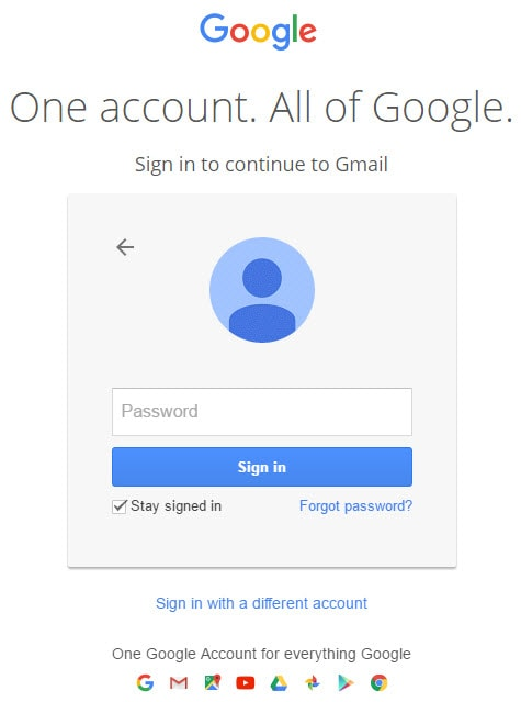 Password in Gmail Sign in Page