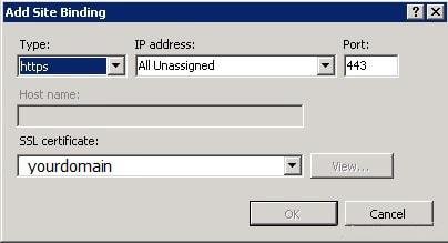 Add Site Binding IIS7