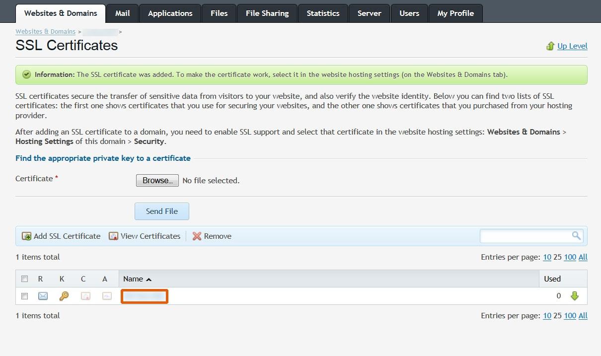 SSL Certificates Plesk
