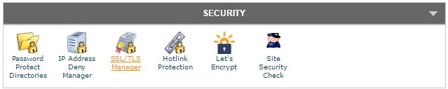 Security Section in cPanel