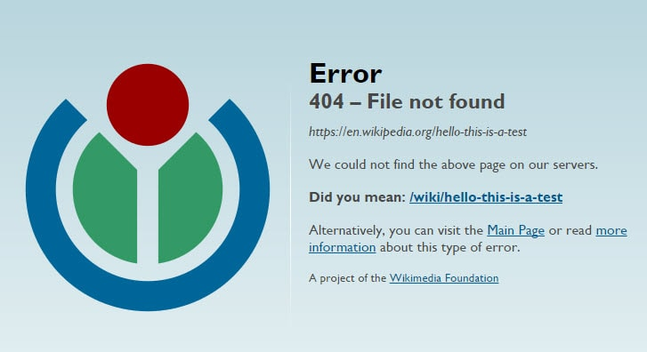 Wikipedia 404 File Not Found Page