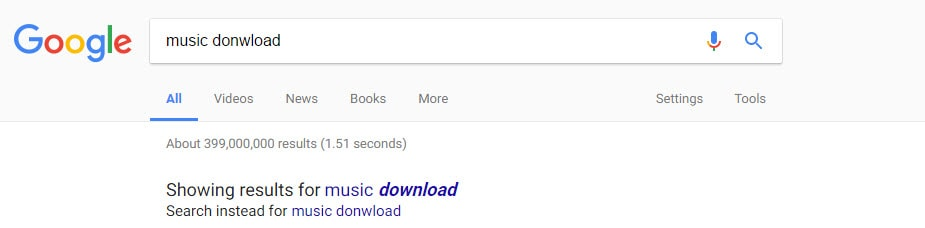 Incorrect Search in Google Website