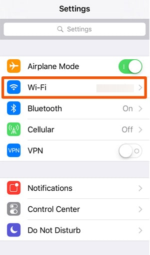 DNS Change in iOS Wifi