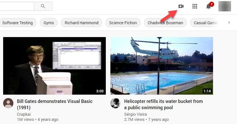 Camera Icon on YouTube