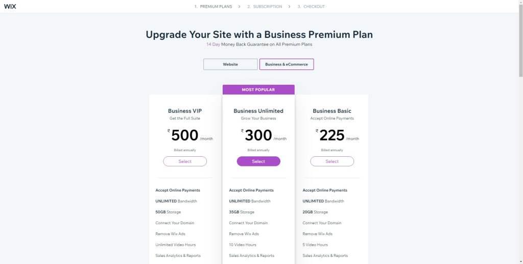 Wix Business Plans