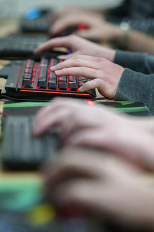 The Los Alamos High School esports team blasted Cleveland High School on Tuesday in the New Mexico Activities Association's first season of esports – competitive video games. (Eddie Moore/Albuquerque Journal)