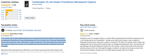 Screengrab showing Frankenstein and Turn of the Screw reviews