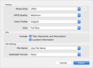 mac911 photos export options jpeg