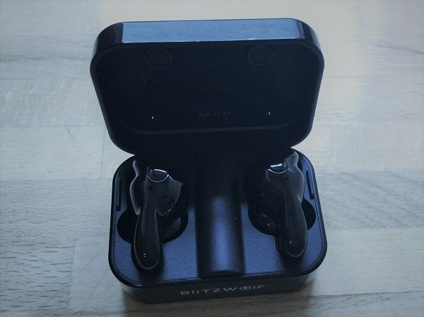 BlitzWolf bluetooth 5.0 Earphones  presented in a carry box which also serves as a charging station.