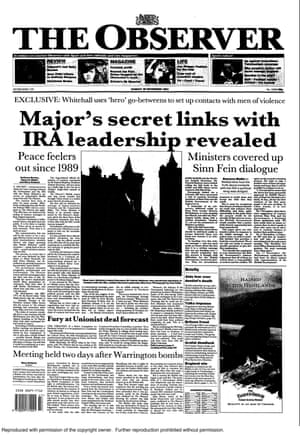 The Observer front page 28 November 1993, which revealed the secret backchannel between MI6 and the IRA.