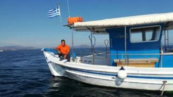Jannis Athinaios fishes in the South Euboean Gulf