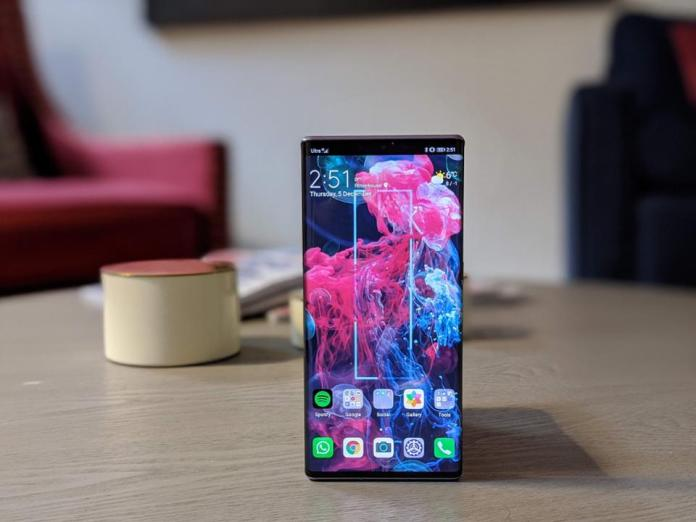 The Mate 30 Pro with its waterfall display.